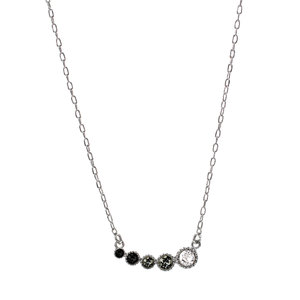 "Black Diamond Ombre by H2Z Made with Swarovski Elements - 16.5"" - 18"" Rhodium Plated Swarovski Crystal  Necklace"