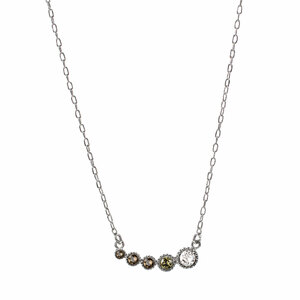 "Topaz Ombre by H2Z Made with Swarovski Elements - 16.5"" - 18"" Rhodium Plated Swarovski Crystal  Necklace"