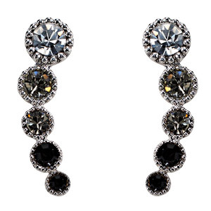 Black Diamond Ombre by H2Z Made with Swarovski Elements - Rhodium Plated Ear Climbers