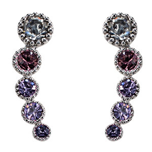 Tanzanite Ombre by H2Z Made with Swarovski Elements - Rhodium Plated Ear Climbers