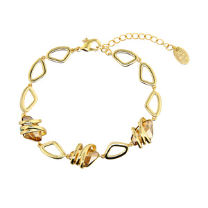 Crystal Golden Shadow Galactic by H2Z Made with Swarovski Elements - Gold Plated Swarovski Element Bracelet