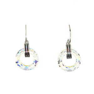 Iridescent Crystal Cosmic by H2Z Made with Swarovski Elements - Rhodium Swarovski Element Drop Earrings