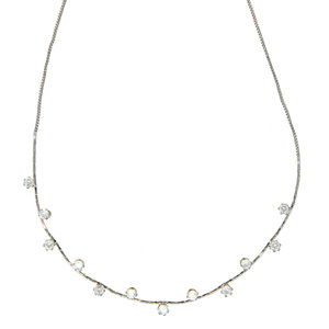 "Stunning Crystal in Silver by H2Z - Jewelry - 16.5-18.5"" Cubic Zirconia Necklace"