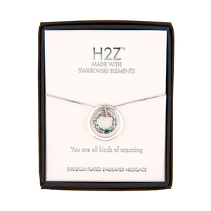 "Amazing Vitrail Light Crystal by H2Z Made with Swarovski Elements - 17""-19"" Engraved Rhodium Plated Swarovski Element Necklace"