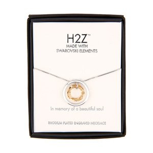 "In Memory Golden Shadow Crystal by H2Z Made with Swarovski Elements - 17""-19"" Engraved Rhodium Plated Swarovski Element Necklace"