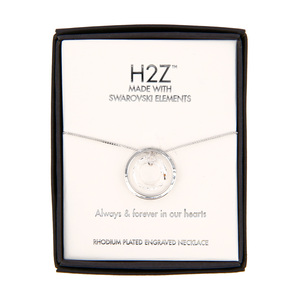 "Forever in our Hearts Clear Crystal by H2Z Made with Swarovski Elements - 17""-19"" Engraved Rhodium Plated Swarovski Element Necklace"