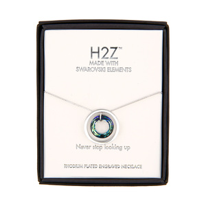 "Look Up Bermuda Blue Crystal by H2Z Made with Swarovski Elements - 17""-19"" Engraved Rhodium Plated Swarovski Element Necklace"
