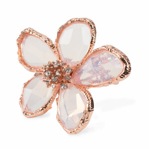 Clear by H2Z Petal Pendants - Size 7 Rose Gold Plated Ring