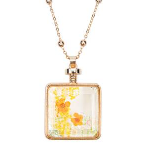"Sunset Wishes by H2Z Petal Pendants - 31"" - 34.5"" Sweater Necklace with Glass Pendant"