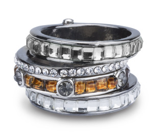 Earthtone by H2Z Radiant Rings - Size 7 Ring with 4 Stacked Crystal Layers