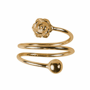 1 Coil Flower by H2Z Spiral Rings - Gold Spiral Adjustable Ring