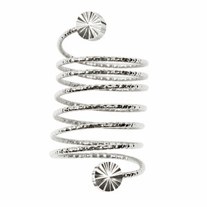 6 Coil Stud by H2Z Spiral Rings - Rhodium Spiral Adjustable Ring