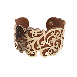 "Gold & Tan by H2Z Filigree Jewelry - 1.5"" Flourish Cuff Bracelet"