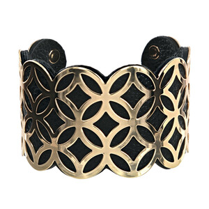 "Gold & Black by H2Z Filigree Jewelry - 1.75"" Geometric Cuff Bracelet"