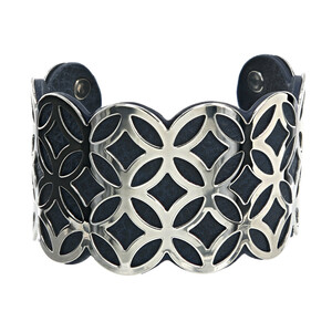 "Silver & Navy by H2Z Filigree Jewelry - 1.75"" Geometric Cuff Bracelet"
