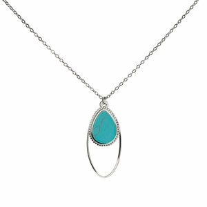 Silver Double Drop by H2Z Filigree Jewelry - Turquoise Necklace
