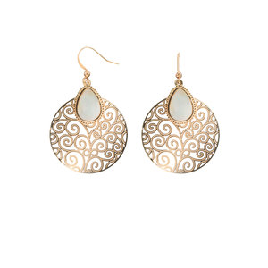 Gold Swirl by H2Z Filigree Jewelry - Mother of Pearl Earrings
