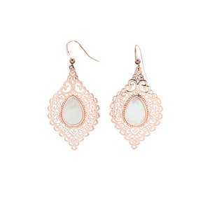 Rose Gold Lace Leaf by H2Z Filigree Jewelry - Mother of Pearl Earrings