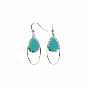 Silver Double Drop by H2Z Filigree Jewelry - Turquoise Earrings