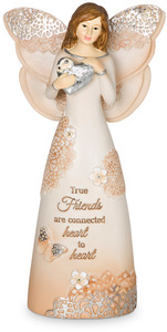 "True Friends by Light Your Way Every Day - 6"" Angel Holding Heart"