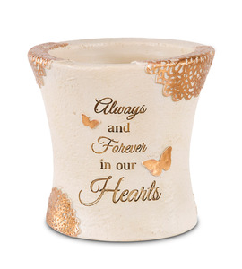"Forever in Our Hearts by Light Your Way Memorial - 4.5"" Outdoor Vase"
