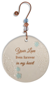 "Forever in My Heart by Light Your Way Memorial - 3.5"" Ceramic Ornament"