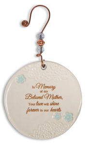 "Beloved Mother by Light Your Way Memorial - 3.5"" Ceramic Ornament"