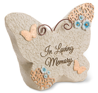 "In loving memory by Light Your Way Memorial - 4"" x 3"" Butterfly Memorial Stone"