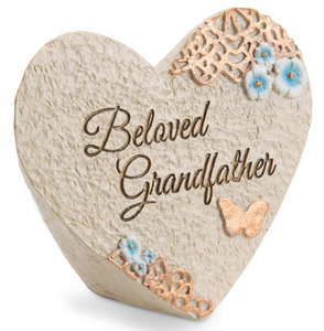 "Beloved grandfather by Light Your Way Memorial - 3.5"" x 3"" Heart Memorial Stone"