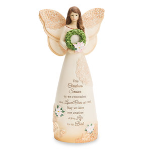 "Christmas by Light Your Way Memorial - 7.5"" Angel with Wreath"