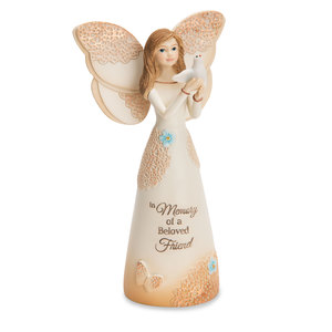 "Beloved Friend by Light Your Way Memorial - 5.5"" Angel with Dove"