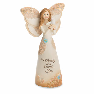"Beloved Son by Light Your Way Memorial - 5.5"" Angel with Dove"