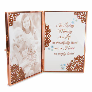 "Memory by Light Your Way Memorial - 4"" x 6"" Glass Hinged Frame"