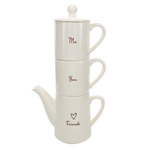 Friends by Comfort Collection - Tea for Two Set (15 oz Teapot with 2 - 8 oz Cups)