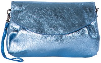 "Nicolette Sky Blue by H2Z Metallic Leather Bag - 10"" x 6.5"" Metallic Leather Purse/Handbag"