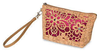"Laurel Marsala by H2Z Laser Cut Handbags - 8"" x 2.5"" x 5"" Cork Bag"