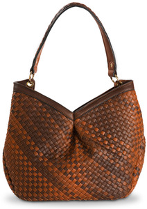 "Suzette Chocolate by H2Z Ombre Handbags - 13"" x 5"" x 14"" Woven Ombre Purse/Shoulder Bag"