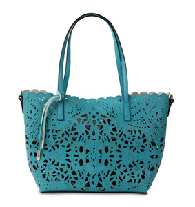 Alison Teal by H2Z Laser Cut Handbags - Teal/Chocolate Tote