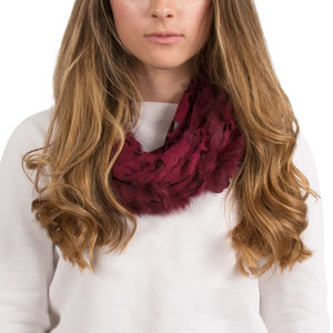 Cranberry by H2Z Scarves - Micro Suede and  Fur Infinity Scarf