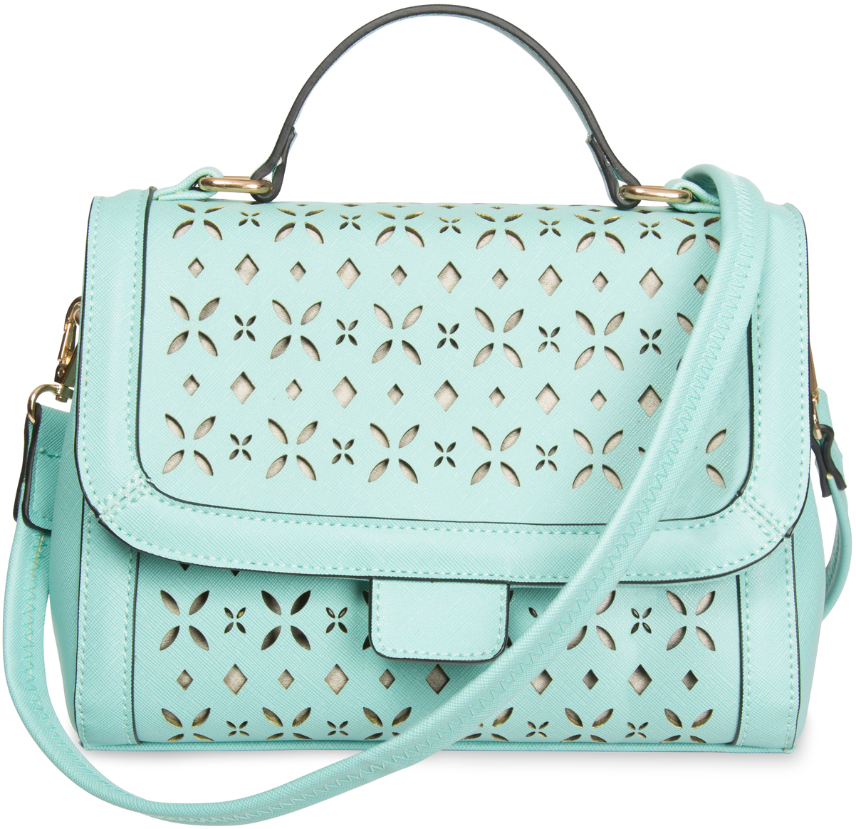 "Aqua by H2Z Laser Cut Handbags - Aqua - 10.25"" x 4.75"" x 8"" Laser Cut Mini Messenger"