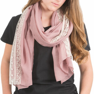 "Pink by H2Z Scarves - 70"" x 30"" Lace Accent Scarf"