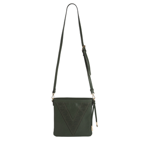 "Jordan Pine by H2Z Laser Cut Handbags - 10.5"" x 1"" x 11.75"" Pine/Taupe Laser Cut Cross Body"