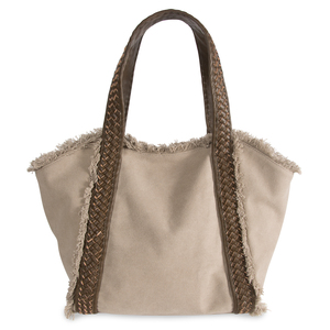 "Khaki by H2Z Handbags - 19"" x 13"" Frayed Canvas Handbag"