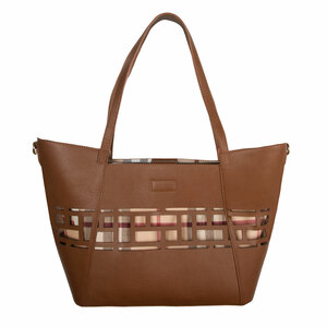 "Walnut Wine by H2Z Handbags - 18"" x 11"" Laser Cut Plaid Tote"