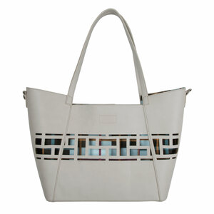 "Slate Sky by H2Z Handbags - 18"" x 11"" Laser Cut Plaid Tote"