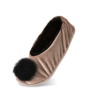 Almond by H2Z Velvet - S/M Velvet Slipper