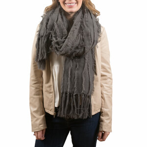 Gray by H2Z Scarves - Oversized Frayed Scarf