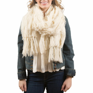 Cream by H2Z Scarves - Oversized Frayed Scarf