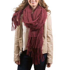 Maroon by H2Z Scarves - Oversized Frayed Scarf