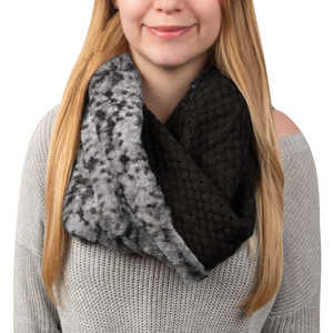 Charcoal Gray by H2Z Scarves - Weave Knit & Faux Fur Infinity Scarf